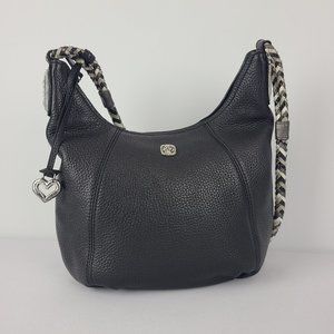 Brighton Black Leather Braided Handle Purse